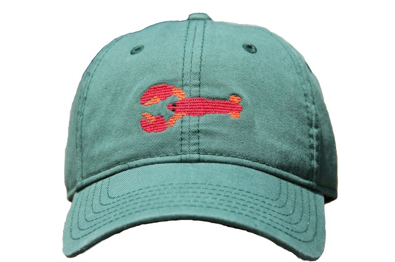 Green Hat with Needlepoint Lobster